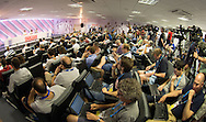 Frank Lampard and Raheem Sterling speak to the media during the England press conference at Estádio Claudio Coutinho, Rio de Janeiro<br /> Picture by Andrew Tobin/Focus Images Ltd +44 7710 761829<br /> 17/06/2014