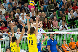 Tine Urnaut of Slovenia vs Lucas Saatkamp and Mauricio Borges Almeida Silva of Brasil during friendly volleyball match between national teams of Slovenia and Brasil in Arena Stozice on 9. September 2015 in , Ljubljana, Slovenia. Photo by Grega Valancic / Sportida