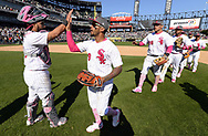 CHICAGO - MAY 14:  Omar Narvaez #38 and Leury Garcia #28 of the Chicago White Sox celebrate after the game against the San Diego Padres on May 14, 2017 at Guaranteed Rate Field in Chicago, Illinois.  The White Sox defeated the Padres 9-3 .  (Photo by Ron Vesely)  Subject: Omar Narvaez; Leury Garcia