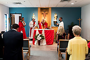DENVER, CO - AUGUST 24: Denver Archbishop Samuel J. Aquila celebrates Mass in the Samaritan House Women's Shelter chapel during the grand opening event on August 24, 2017, in Denver, Colorado. (Photo by Anya Semenoff/for Catholic Charities)