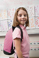 Elementary Student Wearing Backpack