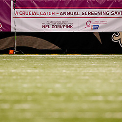 October 3, 2010; New Orleans, LA, USA; A sign for the NFL's Pink program for breast cancer awareness month during the second quarter of a game between the New Orleans Saints and the Carolina Panthers at the Louisiana Superdome. Mandatory Credit: Derick E. Hingle