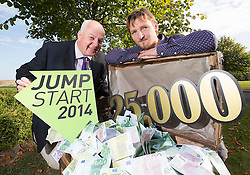 Repro Free: 09/09/2014 Entrepreneur, Bobby Kerr is pictured with Cullen Allen, Co-Founder Cully and Sully Soups, Pies & Hotpots at the launch of JumpStart 2014, the LINC's (Learning and Innovation Centre) at the Institute of Technology Blanchardstown (ITB) annual entrepreneurial competition. JumpStart 2014 gives Irish entrepreneurs a unique opportunity to win a very real JUMP START to their business with a prize worth an incredible €25,000 including €10,000 cash!  Picture: Andres Poveda