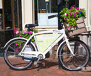 Bicycle advertising a restaurant, Gouda, South Holland, Netherlands,