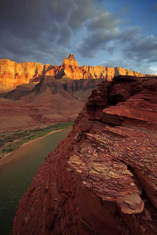 Golden light on Comanche Point and the Palisades of the Desert. From a bluff high above the Colorado River in Grand Canyon National Park in Arizona.
