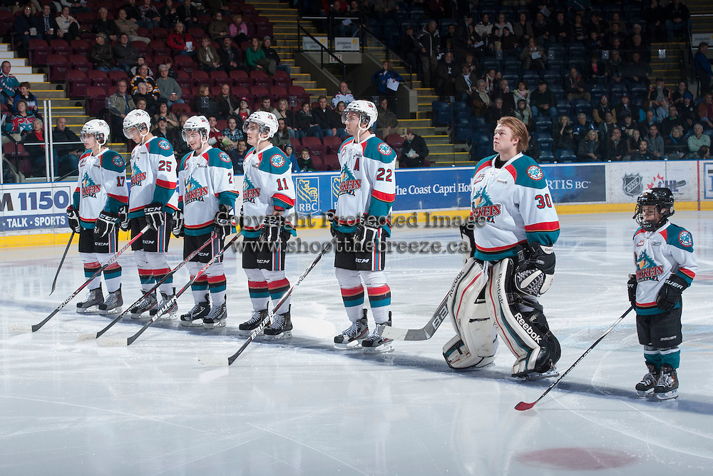 KELOWNA, CANADA - JANUARY 24:  The Kelowna Rockets line up against the Seattle Thunderbirds at the Kelowna Rockets on January 24, 2013 at Prospera Place in Kelowna, British Columbia, Canada (Photo by Marissa Baecker/Shoot the Breeze) *** Local Caption ***