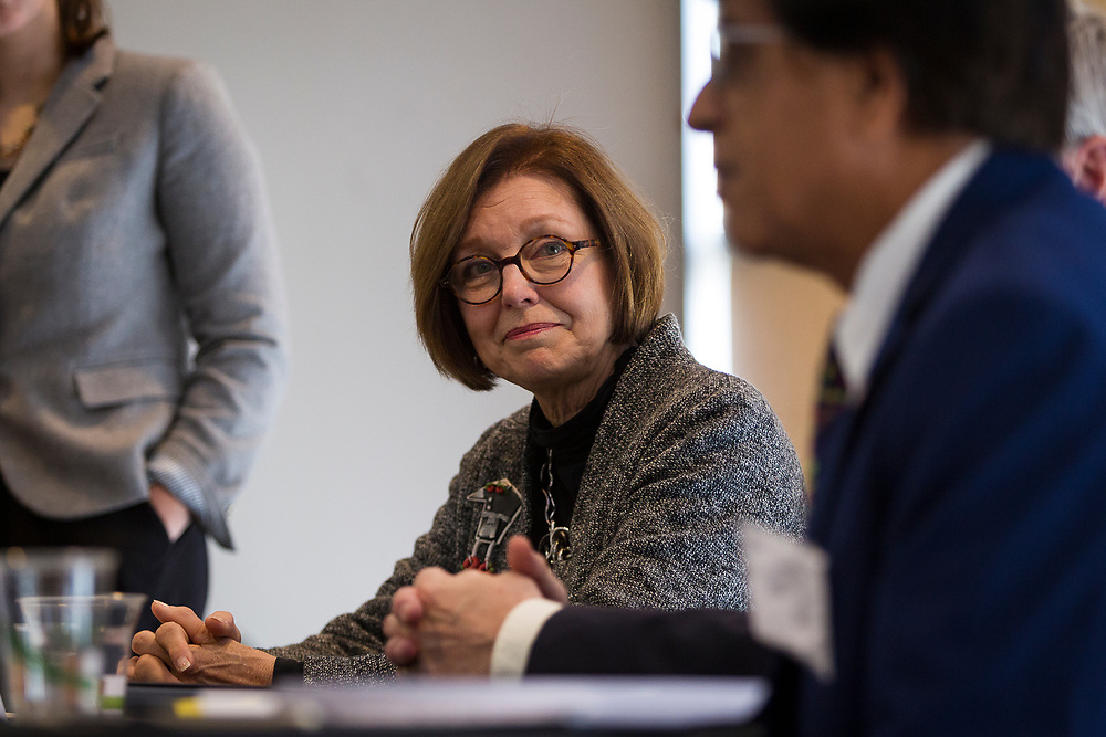 Wauwatosa Mayor Kathy Ehley looks on during the Cap Times Idea Fest 2018 at the Pyle Center in Madison, Wisconsin, Saturday, Sept. 29, 2018.