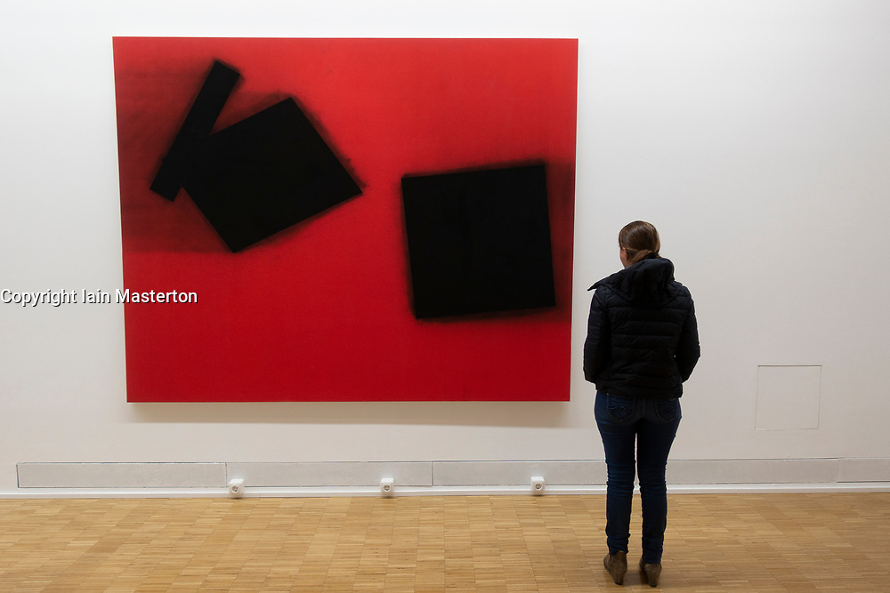 Painting Komposition mit dem Zufall by Lienhard von Monkiewitsch at Light Box modern art museum at Bomann Museum in Celle, Lower Saxony, Germany