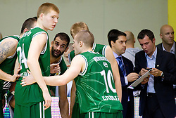 Davis Bertans of Union Olimpija, Robert Rothbart of Union Olimpija, Ben Woodside of Union Olimpija during basketball match between KK Krka and Union Olimpija Ljubljana of Round 7th of ABA League 2011/2012, on November 12, 2011 in Arena Leon Stukelj, Novo mesto, Slovenia. (Photo By Vid Ponikvar / Sportida.com)