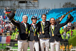 Gold Medal, Team France, Bost Roger Yves, Leprevost Peneloppe, Staut Kevin, Rozier Philippe, FRA<br /> Olympic Games Rio 2016<br /> © Hippo Foto - Dirk Caremans<br /> 17/08/16