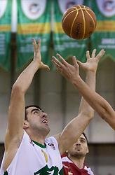 Edin Bavcic (9) of Olimpija at basketball match of 4th Round of NLB League between KK Union Olimpija and KK Crvena zvezda,  on October 24, 2009, Arena Tivoli, Ljubljana, Slovenia.  Union Olimpija won 94:76.  (Photo by Vid Ponikvar / Sportida)