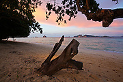 Thailand, Ko Kradan. The beach at sunset.