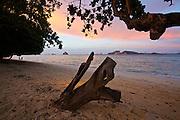 Thailand, Ko Kradan. The beach at sunset.