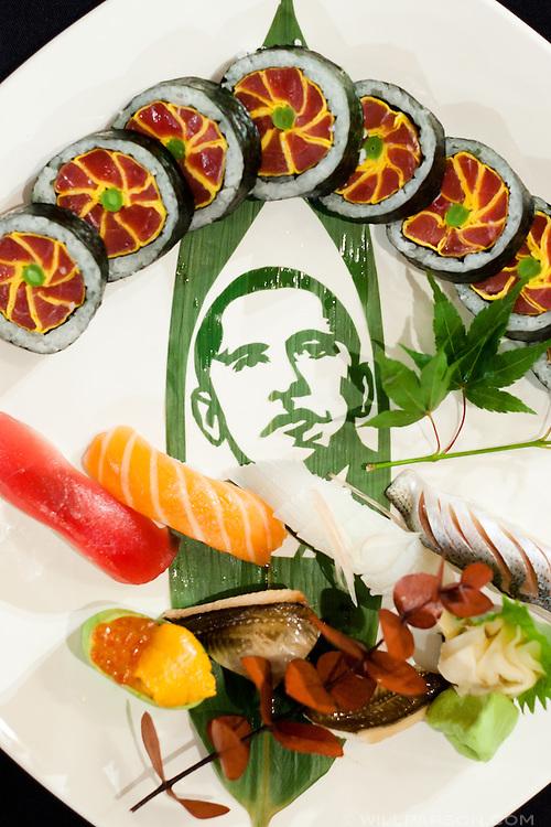 "Atsushi Okawara created this Morikomi plate called ""Hope America"" for the SushiMasters California Regional competition held in San Diego on June 25."