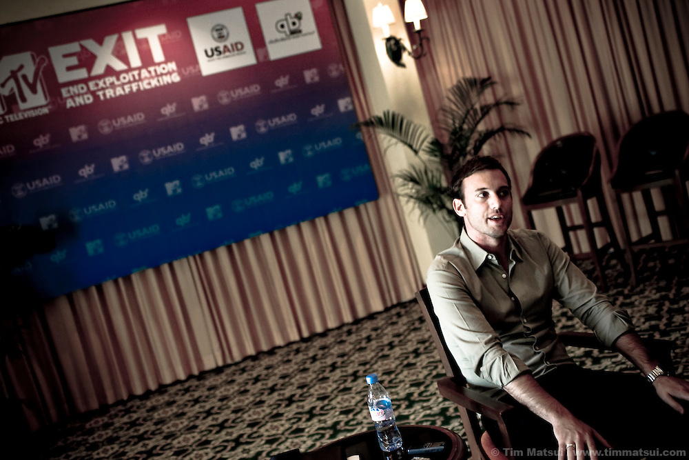 Simon Goff, MTV EXIT Campaign Director speaks to media in Siem Reap prior to the VIP concert at the historic temple Angkor Wat.