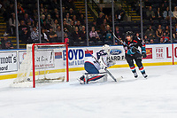 KELOWNA, CANADA - OCTOBER 13:  Talyn Boyko #31 of the Tri-City Americans misses a second period save as Leif Mattson #28 of the Kelowna Rockets watches the puck go in the net on October 13, 2018 at Prospera Place in Kelowna, British Columbia, Canada.  (Photo by Marissa Baecker/Shoot the Breeze)  *** Local Caption ***