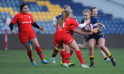 Rebecca Scholes of Worcester Valkyries is tackles by Lotte Clapp of Saracens Women- Mandatory by-line: Nizaam Jones/JMP - 01/12/2018 - RUGBY - Sixways Stadium - Worcester, England - Worcester Valkyries v Saracen Women- Tyrrells Premier 15s
