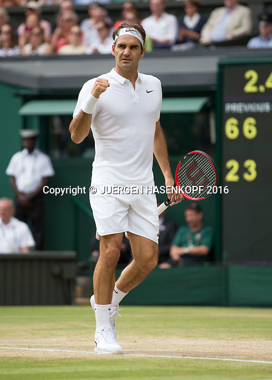 ROGER FEDERER (SUI) macht die Faust und jubelt,Jubel,Emotion,<br /> <br /> Tennis - Wimbledon 2016 - Grand Slam ITF / ATP / WTA -  AELTC - London -  - Great Britain  - 4 July 2016.