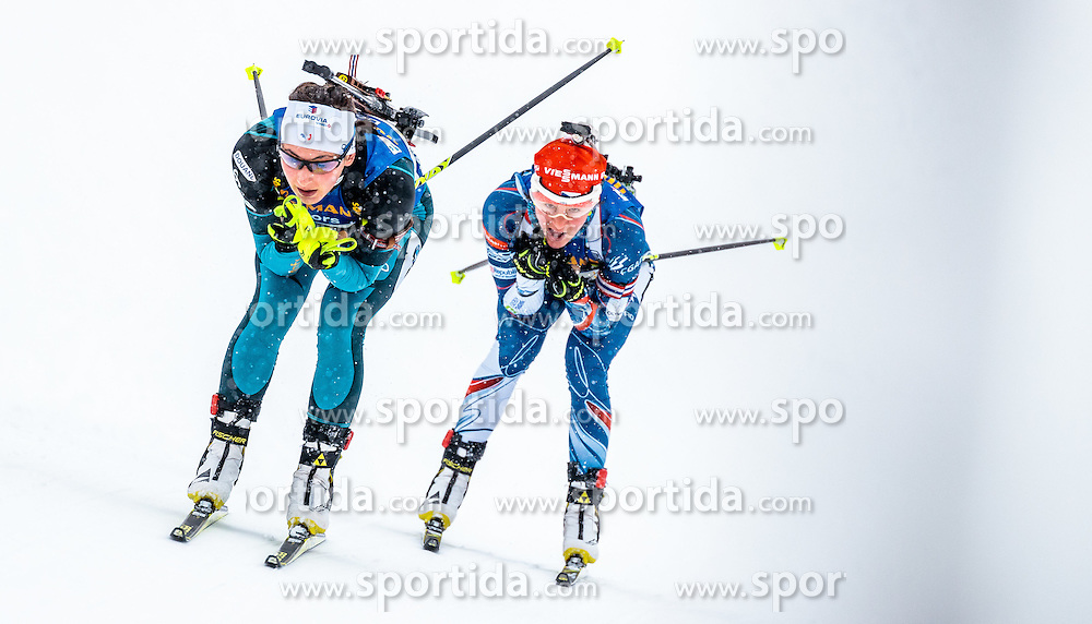 17.02.2017, Biathlonarena, Hochfilzen, AUT, IBU Weltmeisterschaften Biathlon, Hochfilzen 2017, Staffel Damen, im Bild Justine Braisaz (FRA), Veronika Vitkova (CZE) // Justine Braisaz of France, Veronika Vitkova of Czech Republic // during Womens Relay of the IBU Biathlon World Championships at the Biathlonarena in Hochfilzen, Austria on 2017/02/17. EXPA Pictures © 2017, PhotoCredit: EXPA/ JFK