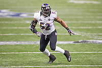 3 February 2013: Linebacker (52) Ray Lewis of the Baltimore Ravens in game action against the San Francisco 49ers during the first half of the Ravens 34-31 victory over the 49ers in Superbowl XLVII at the Mercedes-Benz Superdome in New Orleans, LA.