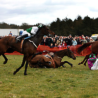 Damien Murphy takes a tumble from Oscar Delta while JM O' Connor manages to hold on to Kipling Tors in the second race at the Dromoland Point to Point on Sunday.<br />