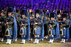 © Licensed to London News Pictures. 15/05/2016. Windsor, UK.  Bagpipes being played during a Scottish themes section of the show. An evening event held at the Royal Windsor Horse show to celebrate the 90th birthday of HRH Queen Elizabeth II. Acts from arounds the world have been invited to perform at the evening event, set in the grounds of Windsor Castle. Photo credit: Ben Cawthra/LNP