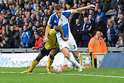 Chesham United striker Ryan Blake and Bristol Rovers defender Lee Brown tussle for the ball during the The FA Cup match between Bristol Rovers and Chesham FC at the Memorial Stadium, Bristol, England on 8 November 2015. Photo by Alan Franklin.