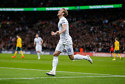 Harry Kane of England (Tottenham Hotspur) celebrates scoring a goal with a header to make it 4-0 - Photo mandatory by-line: Rogan Thomson/JMP - 07966 386802 - 27/03/2015 - SPORT - FOOTBALL - London, England - Wembley Stadium - England v Lithuania UEFA Euro 2016 Qualifier.
