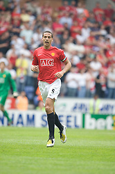 WIGAN, ENGLAND - Sunday, May 11, 2008: Manchester United's Rio Ferdinand in action against Wigan Athletic during the final Premiership match of the season at the JJB Stadium. (Photo by David Rawcliffe/Propaganda)