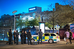 © Licensed to London News Pictures . 07/04/2017 . Manchester , UK . Paramedics in Piccadilly Gardens . Greater Manchester Police have authorised dispersal powers and say they will ban people from the city centre for 48 hours , this evening (7th April 2017) , in order to tackle alcohol and spice abuse . Photo credit : Joel Goodman/LNP