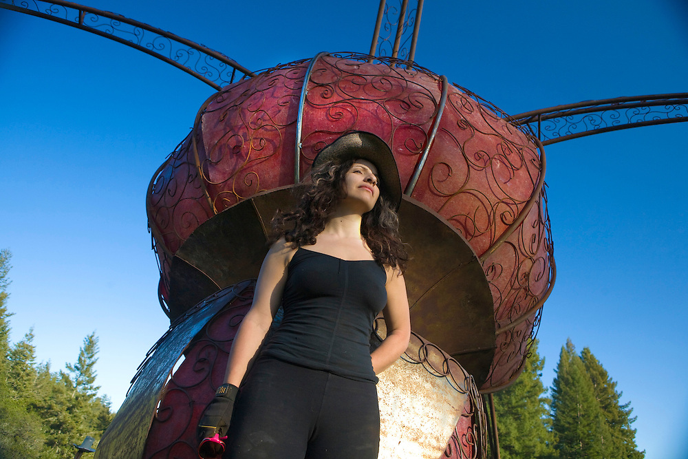 "Sculptor, Rosanna Scimeca, installs ""Cleavage In Space,"" on a 60 acre private estate in Occidental, CA."