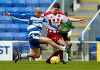 Photo: Richard Lane.<br /> Reading v Sheffield United. Nationwide Division One. 28/02/2004<br /> James Harper (rt) challenges Nick Montgomery.