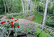 Country garden and pathways<br /> Victoria Beach<br /> Manitoba<br /> Canada