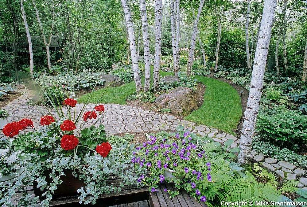 Country garden and pathways<br /> Victoria Beach<br /> Manitoba<br /> Canada