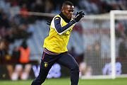 Mbwana Samatta warms up ahead of the EFL Cup Semi-Final match between Aston Villa and Leicester City at Villa Park, Birmingham, England on 28 January 2020.