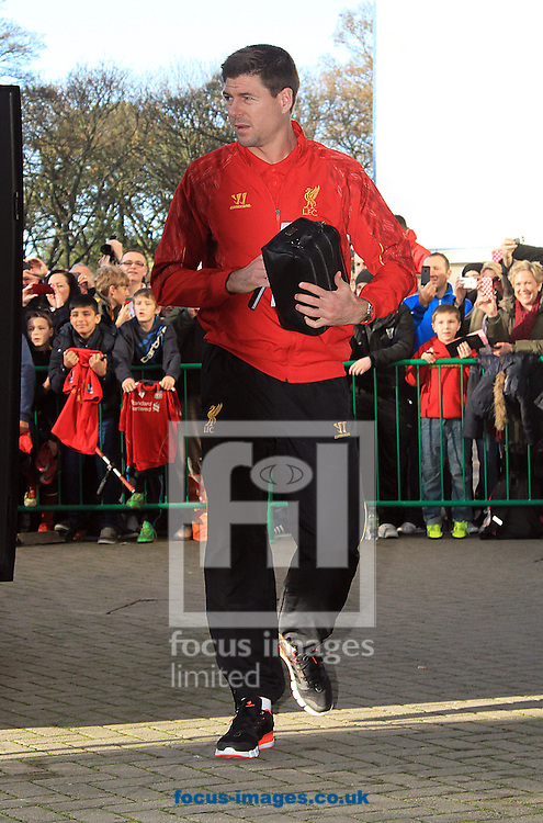 Picture by Richard Gould/Focus Images Ltd +44 7855 403186<br /> 01/12/2013<br /> Steven Gerrard of Liverpool getting off the team bus during the Barclays Premier League match at the KC Stadium, Kingston upon Hull.