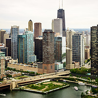 Chicago aerial picture of Streeterville including John Hancock Building, Lake Point Tower Condominium, and Lake Shoore Drive. Photo was taken in 2013.