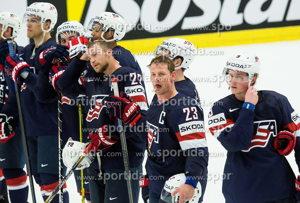 Matt Hendricks of USA and other players after the Ice Hockey match between USA and Belarus at Day 7 in Group B of 2015 IIHF World Championship, on May 7, 2015 in CEZ Arena, Ostrava, Czech Republic. Photo by Vid Ponikvar / Sportida