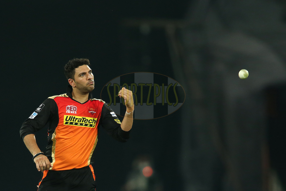Yuvraj Singh of Sunrisers Hyderabad during match 42 of the Vivo IPL 2016 (Indian Premier League) between the Sunrisers Hyderabad and the Delhi Daredevils held at the Rajiv Gandhi Intl. Cricket Stadium, Hyderabad on the 12th May 2016<br /> <br /> Photo by Shaun Roy / IPL/ SPORTZPICS
