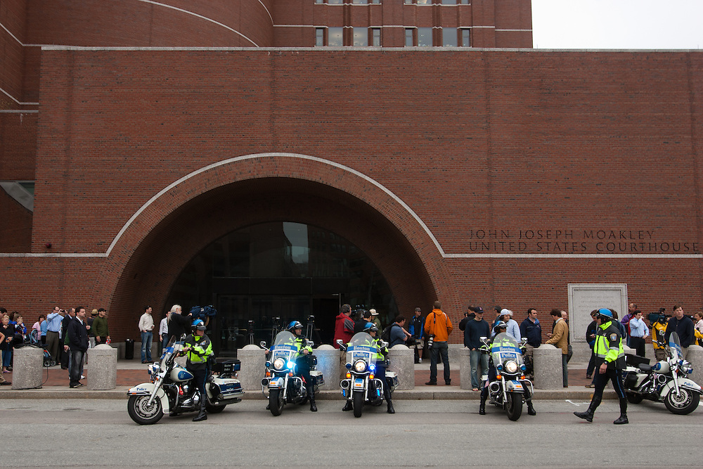 "Boston, MA 06/24/2011.State Police motorcycles line up outside the Moakley federal courthouse before the arraignment of James ""Whitey"" Bulger on Friday afternoon..Alex Jones / www.alexjonesphoto.com"