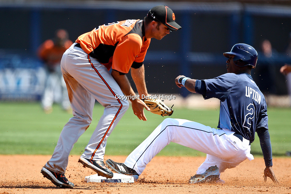 March 20, 2011; Port Charlotte, FL, USA; Tampa Bay Rays center fielder B.J. Upton (2) steals second base past Baltimore Orioles shortstop J.J. Hardy (2)during a spring training exhibition game at Charlotte Sports Park.   Mandatory Credit: Derick E. Hingle