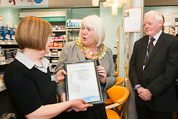 Lloyds Pharmacy Stocksbridge has achieved the status of 'Healthy Living Pharmacy'. A special accreditation for offering high levels of health screening  and advice to the local community. <br /> <br /> left to right Pharmacy Manager Jackie Walter, Mayor of Stocksbridge Susie Abrahams and NHS Sheffield Commissioning Manager Gareth Johnstone<br /> <br /> <br /> <br /> 04 October 2012<br /> Image © Paul David Drabble