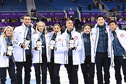 PYEONGCHANG, Feb. 12, 2018  Team United States celebrate after the figure skating team event at the 2018 PyeongChang Winter Olympic Games, in Gangneung Ice Arena, South Korea, on Feb. 12, 2018. The United States won the bronze medal with 62 points in total. (Credit Image: © Ju Huanzong/Xinhua via ZUMA Wire)