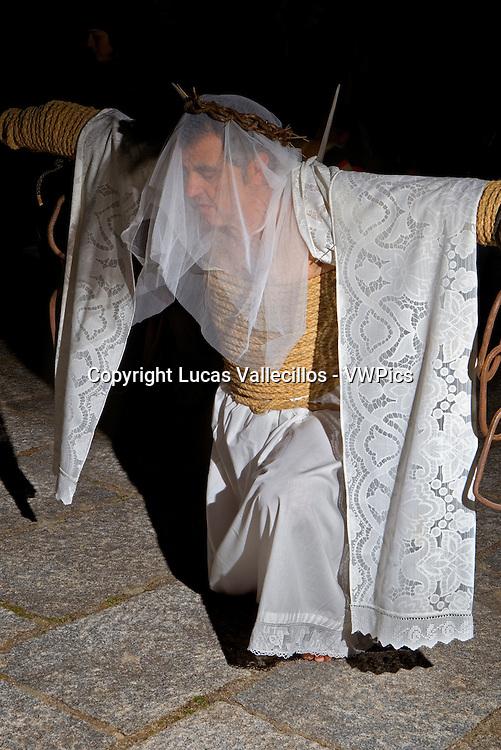 ´Empalaos´ (impaleds), Holy Week in Valverde de la Vera. Empalao.Caceres province, Extremadura, Spain