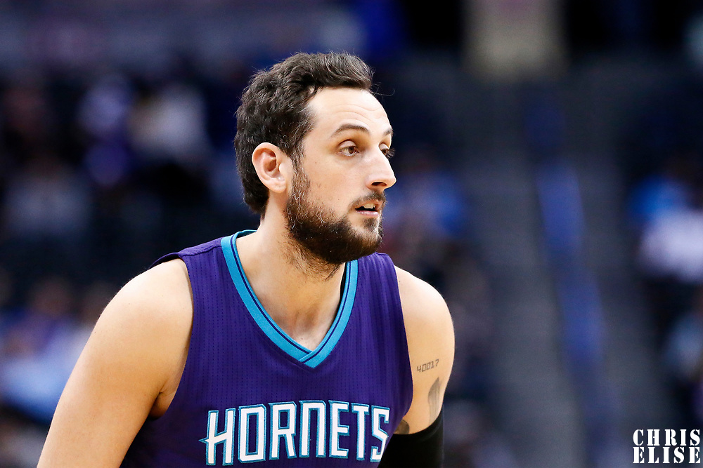 04 March 2017: Charlotte Hornets guard Marco Belinelli (21) rests during the Charlotte Hornets 112-102 victory over the Denver Nuggets, at the Pepsi Center, Denver, Colorado, USA.