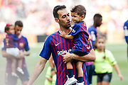Sergio Busquets of FC Barcelona with his son during the Spanish championship La Liga football match between FC Barcelona and Huesca on September 2, 2018 at Camp Nou Stadium in Barcelona, Spain - Photo Xavier Bonilla / Spain ProSportsImages / DPPI / ProSportsImages / DPPI