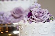wedding cake with purple roses by Tallmadge wedding photographer, Akron wedding photographer Mara Robinson Photography
