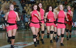 Dancers at  handball game between men national teams of Slovenia and Slovakia, first qualification game for the World Chamionship 2009, on June 7, 2008, in Arena Zlatorog, Celje, Slovenija. Result: 33 : 33. (Photo by Vid Ponikvar / Sportal Images)