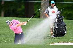 May 3, 2019 - Charlotte, NC, U.S. - CHARLOTTE, NC - MAY 03: Jason Kokrak plays a shot from a bunker on the 11th hole during round two of the Wells Fargo Championship on May 03, 2019 at Quail Hollow Club in Charlotte,NC. (Photo by Dannie Walls/Icon Sportswire) (Credit Image: © Dannie Walls/Icon SMI via ZUMA Press)
