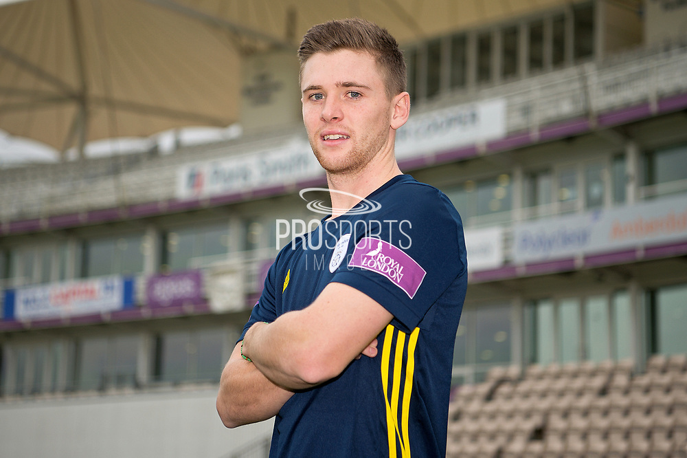 Portrait of Calvin Dickinson in front of the pavilion during the Hampshire County Cricket Club Media Day at the Ageas Bowl, Southampton, United Kingdom on 10 April 2018. Picture by Dave Vokes.
